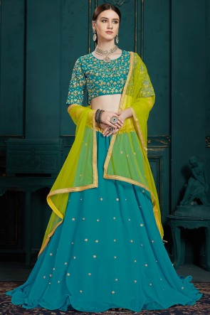 Excellent Turquoise Thread Work And Sequins Work Georgette Designer Lehenga Choli With Net Dupatta