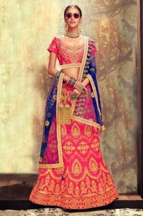 Pink Stone Work And Border Work Banglori Silk Lehenga Choli With Net Dupatta