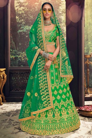Marvelous Embroidred And Border Work Green Banglori Silk Lehenga Choli With Net Dupatta