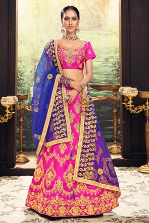 Dazzling Pink Stone Work And Zari Work Banglori Silk Lehenga Choli With Net Dupatta