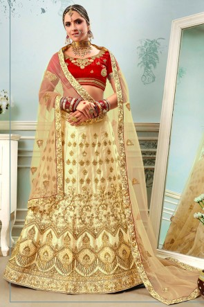 Delightful Beige Satin And Silk Stone Work And Embroidery Lehenga With Net Dupatta