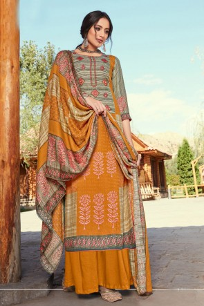 Appealing Embroidered And Printed Mustard Wool Pashmina Plazzo Suit And Dupatta