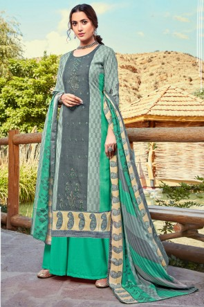 Multi Color Wool Pashmina Embroidered And Printed Plazzo Suit And Dupatta