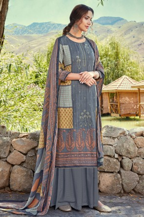Grey Embroidered And Printed Wool Pashmina Plazzo Suit And Dupatta