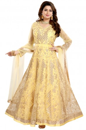 Fascinating Yellow Net And Crepe Embroidered Anarkali Suit With Net Dupatta