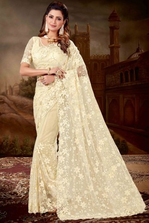 Embroidred Cream Net Designer Saree And Blouse