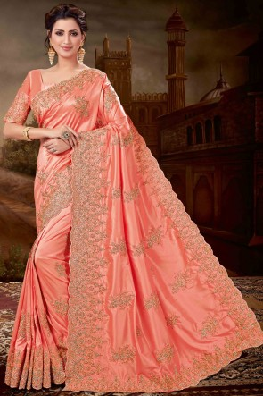 Charming Peach Embroidred Silk Saree And Blouse