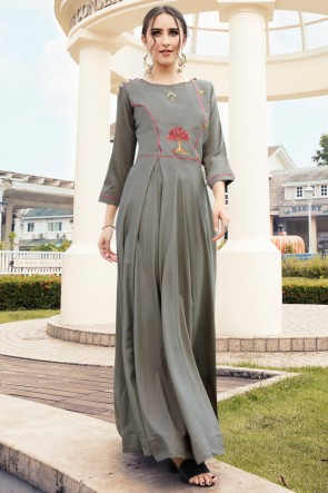 Heavy Designer Grey Rayon Embroidered Kurti