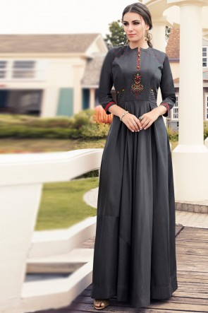 Delicate Charcoal Rayon Embroidered Kurti