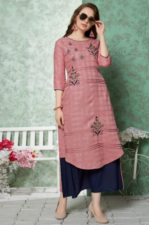 Lovely Maroon Embroidered Rayon Kurti