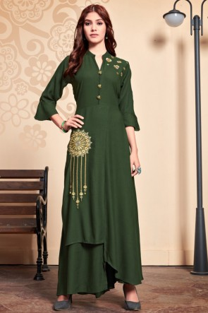 Marvelous Green Rayon Embroidered Kurti