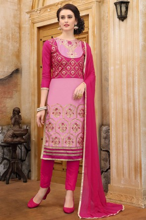 Pink Embroidered And Border Work Cotton Salwar Suit With Nazmin Dupatta