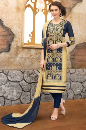 Delightful Navy Blue Embroidered And Border Work Cotton Salwar Suit With Nazmin Dupatta