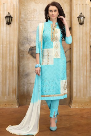 Charming Sky Blue Embroidered And Border Work Cotton Salwar Kameez With Nazmin Dupatta