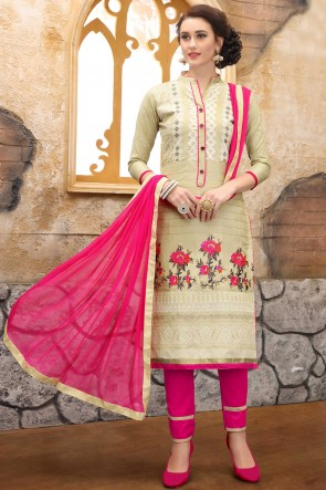 Marvelous Cream Embroidered And Border Work Cotton Salwar Kameez With Nazmin Dupatta