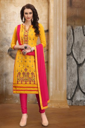 Lovely Embroidered And Border Work Yellow Cotton Salwar Kameez With Nazmin Dupatta