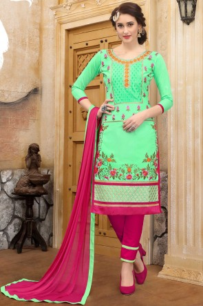 Party Wear Parrot Green Embroidered And Border Work Salwar Suit With Nazmin Dupatta
