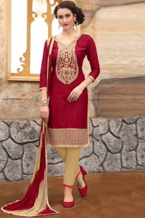 Maroon Cotton Embroidered And Border Work Salwar Suit With Nazmin Dupatta