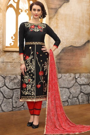 Supreme Black Embroidered And Border Work Cotton Salwar Suit With Nazmin Dupatta