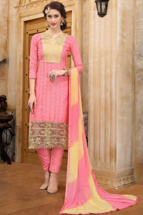 Solid Pink Embroidered And Border Work Cotton Salwar Suit With Nazmin Dupatta