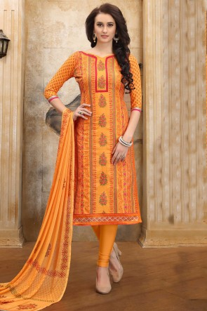 Heavy Designer Yellow Embroidered And Border Work Cotton Salwar Kameez With Nazmin Dupatta