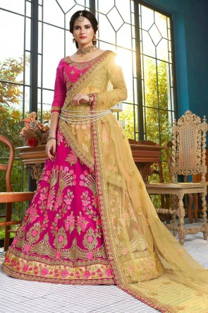 Pink Net Embroidred And Stone Work Designer Lehenga Choli With Embroidred Blouse
