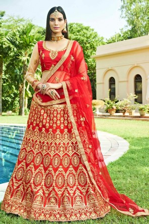 Graceful Red Silk Embroidred And Zari Work Lehenga Choli With Net Dupatta