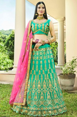 Dazzling Light Green Embroidred And Zari Work Silk Lehenga Choli With Net Dupatta