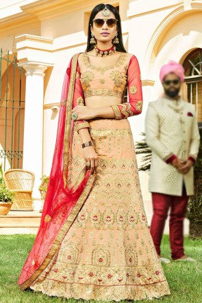 Excellent Silk Peach Embroidred And Zari Work Lehenga Choli With Net Dupatta