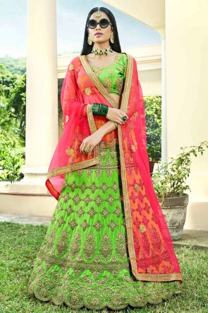 Parrot Green Embroidred And Zari Work Silk Designer Lehenga Choli With Net Dupatta