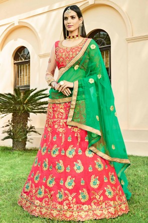 Graceful Silk Embroidred And Zari Work Pink Lehenga Choli With Net Dupatta