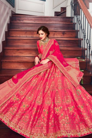 Dazzling Pink Stone Work And Hand Work Silk Lehenga Choli And Dupatta