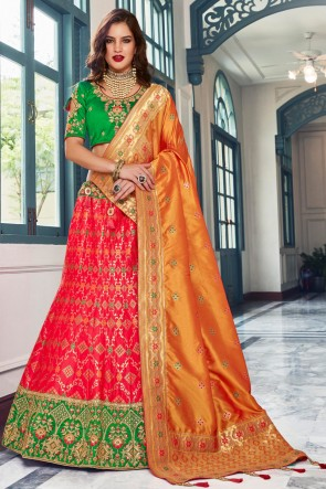 Red Stone Work And Hand Work Silk Designer Lehenga Choli And Dupatta