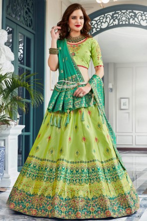 Light Green Silk Stone Work And Hand Work Lehenga Choli And Dupatta