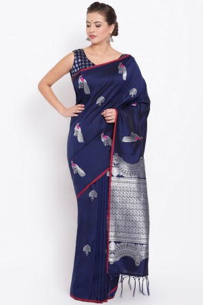 Weaving Work And Jacquard Work Navy Blue Silk Fabric Saree And Blouse