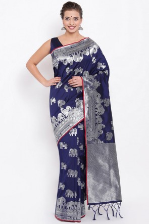 Jacquard Work And Weaving Work Navy Blue Silk Saree And Blouse
