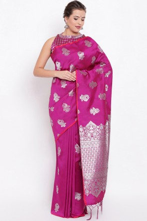 Party Wear Pink Jacquard Work And Weaving Work Designer Silk Saree And Blouse