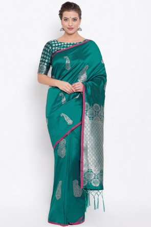 Party Wear Jacquard Work And Weaving Work Green Silk Fabric Saree And Blouse