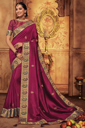 Beautiful Magenta Embroidred And Stone Work Designer Silk Saree With Border Work Blouse