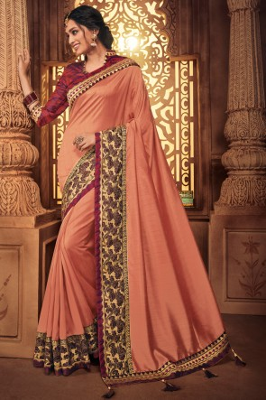 Pretty Embroidred And Stone Work Peach Silk Saree With Border Work Blouse