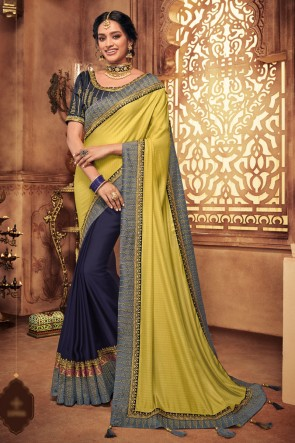 Yellow And Navy Blue Embroidred And Stone Work Silk Saree With Border Work Blouse