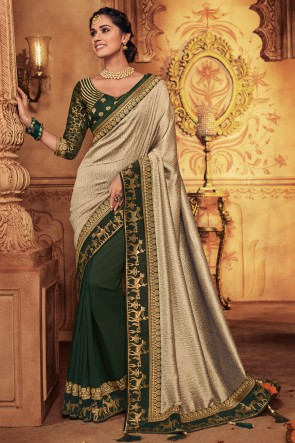 Party Wear Green And Grey Embroidred And Stone Work Silk Saree With Border Work Blouse