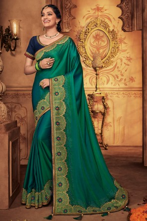 Splendid Teal Embroidred And Stone Work Silk Saree With Border Work Blouse
