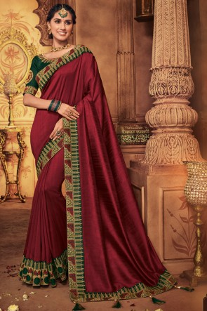 Maroon Embroidred And Stone Work  Designer Saree With Border Work Blouse