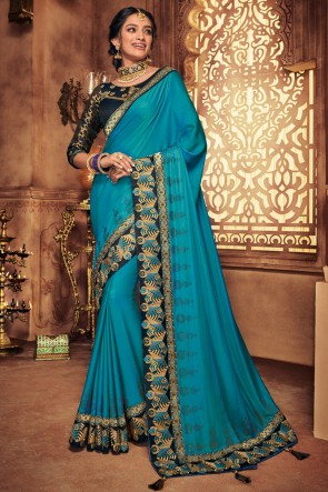 Embroidred And Stone Work  Sky Blue Silk Designer Saree With Border Work Blouse