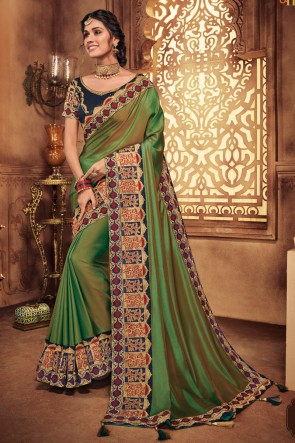 Mehendi Green Embroidred And Stone Work Silk Saree With Border Work Blouse