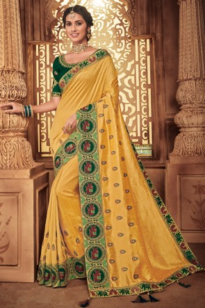Lovely Yellow Embroidred And Stone Work Designer Silk Saree With Border Work Blouse