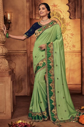 Beautiful Light Green Embroidred And Stone Work Designer Silk Saree With Border Work Blouse