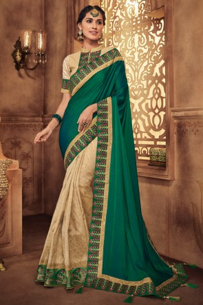 Stylish Teal And Cream Embroidred And Stone Work Silk Saree With Border Work Blouse