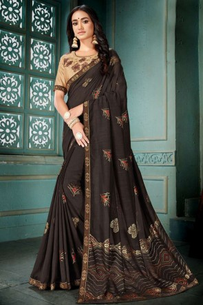 Brown Embroidred And Printed Designer Silk Saree With Embroidred Blouse